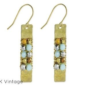 Wire Wrapped Gold Bar Beaded Earrings